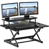 SHW 36-Inch Height Adjustable Standing Desk Sit to Stand Riser Converter Workstation, Black