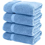 Luxury White Bath Towels Large - Circlet Egyptian Cotton   Highly Absorbent Hotel spa Collection Bathroom Towel   27x54 Inch