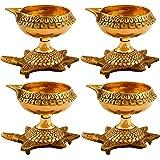 Hashcart Set of 51 Handmade Indian Puja Brass Oil Lamp - Design Diya with Turtle Base