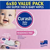 Curash Curash Fragrance Free Baby Wipes 6x80s, 480 count