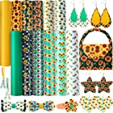 12 Pieces Sunflowers Printed Faux Leather Sheets and Green Yellow PU Leather Sheets for Earrings Jewelry Making DIY Craft Dec