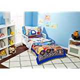 EVERYDAY KIDS 4 Piece Toddler Bedding Set - Under Construction - Includes Comforter, Flat Sheet, Fitted Sheet and Reversible