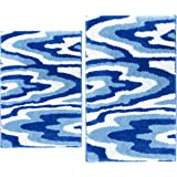 Blue and White Bath Rug Set of 2 Piece Gradient Blue Wood Grain Pattern Rectangle Bathroom Rugs Marble Bathroom Decor Soft Mi
