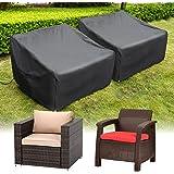 HIRALIY Patio Chair Covers, 2 Pack Waterproof Outdoor Lounge Deep Seat Furniture Cover, Heavy Duty Single Wicker Garden Sofa