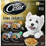 CESAR HOME DELIGHTS Soft Wet Dog Food Pot Roast & Vegetable, Beef Stew, Turkey Potato & Green Bean, and Hearth Chicken & Nood