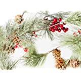 CraftMore Christmas Smokey Pine and Red Berry Garland 6 Feet