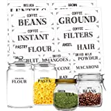 Clear Pantry Labels Set for Kitchen Restaurant Storage Organization Water Resistant, 210 Pcs in 7 Sizes for Food Containers,