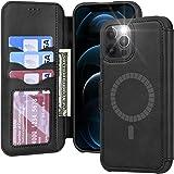 【Amazon限定ブランド】MagSafe対応 iPhone12 Pro Max ケース 手帳型 - 米軍軍事規格 超高耐衝撃 薄型 軽量 スマホケース iPhone 12 Pro Max ワイヤレス充電対応 スキミング防止 高級PUレザー Arae