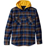BRIXTON Mens Bowery Standard Fit Hooded Long Sleeve Flannel Shirt Long Sleeve Button Down Shirt - Multi