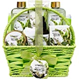 Bath and Body Gift Basket For Women and Men - Magnolia and Tuberose Home Spa Set, Includes Fragrant Lotions, Massage Oil, Bat