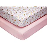 Little Love by NoJo She's So Lovely Heart Crib Sheet Set, Pink/Metallic Gold, 2 Count