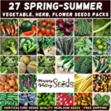 Mixed Spring Summer 1400 Heirloom Seeds Vegetable HERB Flower Garden 27 pks Bulk