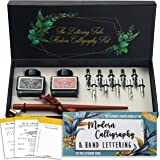 Lettering Tribe Calligraphy Set For Beginners | Oblique Wooden Pen Set | 10 Caligraphy Dip Pen Nibs | Black India Ink | Onlin