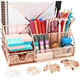 OFFICE ALMIGHTY Rose Gold Desk Organizer for Women: Exclusive Large 6 in 1 Mesh Metal Supplies Organizer with Pen Holders, Fo