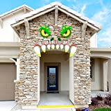 JOYIN Monster Face Halloween Archway Garage Door Decoration with Eyes, Fangs, Nostrils and Double Face Stickers (21 inches Ey