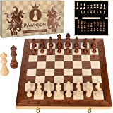 Wooden Chess Set for Kids and Adults – 17 in Staunton Chess Set - Large Folding Chess Board Game Sets - Storage for Pieces |