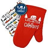 Camco Life is Better at The Campsite Heat Resistant Oven Mitt and Pot Holder Set-Red with White Logo Design, Excellent for RV