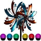 MAGGIFT Solar Wind Spinner, 56.3 Inch Outdoor Metal Stake Yard Spinners, Garden Wind Catcher Wind Mills, Solar Powered RGB Co