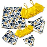 Herbeeza Family Matching Swimsuits, Two Piece Swimsuit High Waisted Off Shoulder Ruffled Printed Mommy and Me Bikini Set