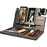 BarvA Wood Docking Station Tray Two Cell Phone Smartwatch Holder Men Charging Accessory Nightstand Father Mobile Gadget Organ