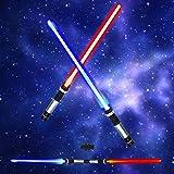 Light Saber 2-in-1 LED (6 Colors) Light Up FX Laser Dual Swords Set with Sound (Motion Sensitive) for Galaxy War