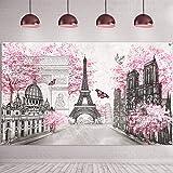 Paris Tapestry Backdrop Paris Wall Art Eiffel Tower Photo Banner Background European City Landscape Pink Wall Hanging Decor f
