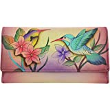 Anna by Anuschka Hand Painted Leather   Triple Compartment Wallet/Clutch