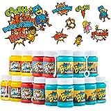 FAVONIR Superhero Bubbles & Tattoos Party Favor Set – 24 x Kids Bubble Bottles 72 Temporary Tattoo Stickers for Kids – Hero T