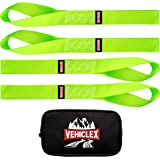 Vehiclex Soft Loop Motorcycle Tie Down Straps 1.5 x 18 inches - Green - 10000 lb Load Capacity - 4 Pack Tie-Down Loops in Sto