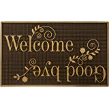 Storm Stopper Painted Rubber, Indoor/Outdoor Welcome & Goodbye Mat, Gold Welcome Goodbye