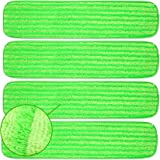 Microfiber Mop Pads Refill Pack - 4X Reusable Washable Mop Head Replacements Best Thick MF - Spray Wet Dust Dry Flat Velcro A