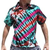 RaanPahMuang Light Gauze Cotton Tie Dye Shirt Short Sleeve Poets Collar