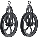 ArtifactDesign Vintage Rustic Industrial Look Medium Wheel Farm Pulley for Custom Make Wall Pendant Lamps Frosty Black Set of