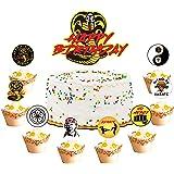Eartim 25Pcs Cobra Kai Birthday Decorations Cake Topper Cupcake Toppers Set TV Show Cobra Kai Party Favor Supplies for Boys G