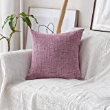 (70cm x 70cm, B-Light Pink) - HOME BRILLIANT Super Soft Valentines Day Pillow Covers Striped Chenille Velvet Decorative Euro