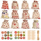 PGFUN 24 Pcs Christmas Bags Small Drawstring Bags with Wooden Clips, Numbers Stickers and 32.8 ft Jute Twine for Birthday Wed