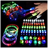 60PCs LED Light Up Toys Glow in The Dark Party Supplies, Glow Stick Party Pack for Kids Party Favors Including 40 Finger Ligh