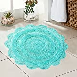 Chardin Home - 100% Pure Cotton - Crochet Round Bath Rug, 24'' Mat with Latex Spray Non-Skid Backing, (24'' Round, Turquoise)