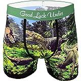 Good Luck Undies Men's Dinosaur Valley Boxer Brief Underwear