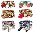 YADOCA 6 Sets Bohemian Wood Beaded Bracelets Set for Women Multilayer Stretch Tassel Bracelets Set Tree of Life Elephant Char
