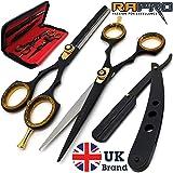 RAPRO RP-SS-01 Professional Barber Hairdressing Scissors Set Includes Barber Razor Shear, Stylish Thinning Scissor, Straight