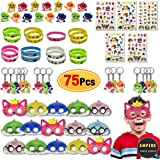 75 Pack Baby Shark Party Favors | Doo Bag - Face Mask, Hand Tattoo, Finger Ring, Key Chain, Wrist Bands | Shark Themed Party