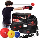 BOXERPOINT Boxing Reflex Ball Set for Kids - 3 Difficulty Level Soft Punching Balls - Boxing Training Equipment with Adjustab