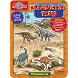 Dinosaur Magnetic Tin Playset TS Shure by Bendon with 3 Illustrated Magnet Sheets and Dual Playscenes 50263