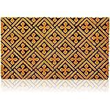 Cross Print Natural Coir Nonslip Welcome Doormat (17 x 30 in)