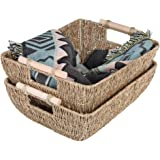 "StorageWorks Hand-Woven Jumbo Storage Baskets with Wooden Handles, Seagrass Wicker Baskets for Organizing, 16.9"" x 13"" x 6"","