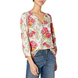 Lucky Brand Women's Long Sleeve V Neck Floral Smocked Peasant Top