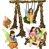 Mood Lab Fairy Garden - Accessories Kit with Miniature Figurines - Hand Painted Swing Set of 6 pcs - for Outdoor or House Dec
