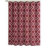 "Biscaynebay Printed Fabric Shower Curtain, Morocco Pearl Bathroom Curtain (72""X72"", Morocco Red Burgundy)"