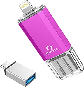 Qarfee フラッシュドライブ USB メモリー 32GB iPhone/PC/Android 3in1 専用アプリ OTG Type- C変換アダプター付属 (32GB, 紫)